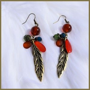 Jewelry - *** Vintage Inspired Gold Feather Earrings